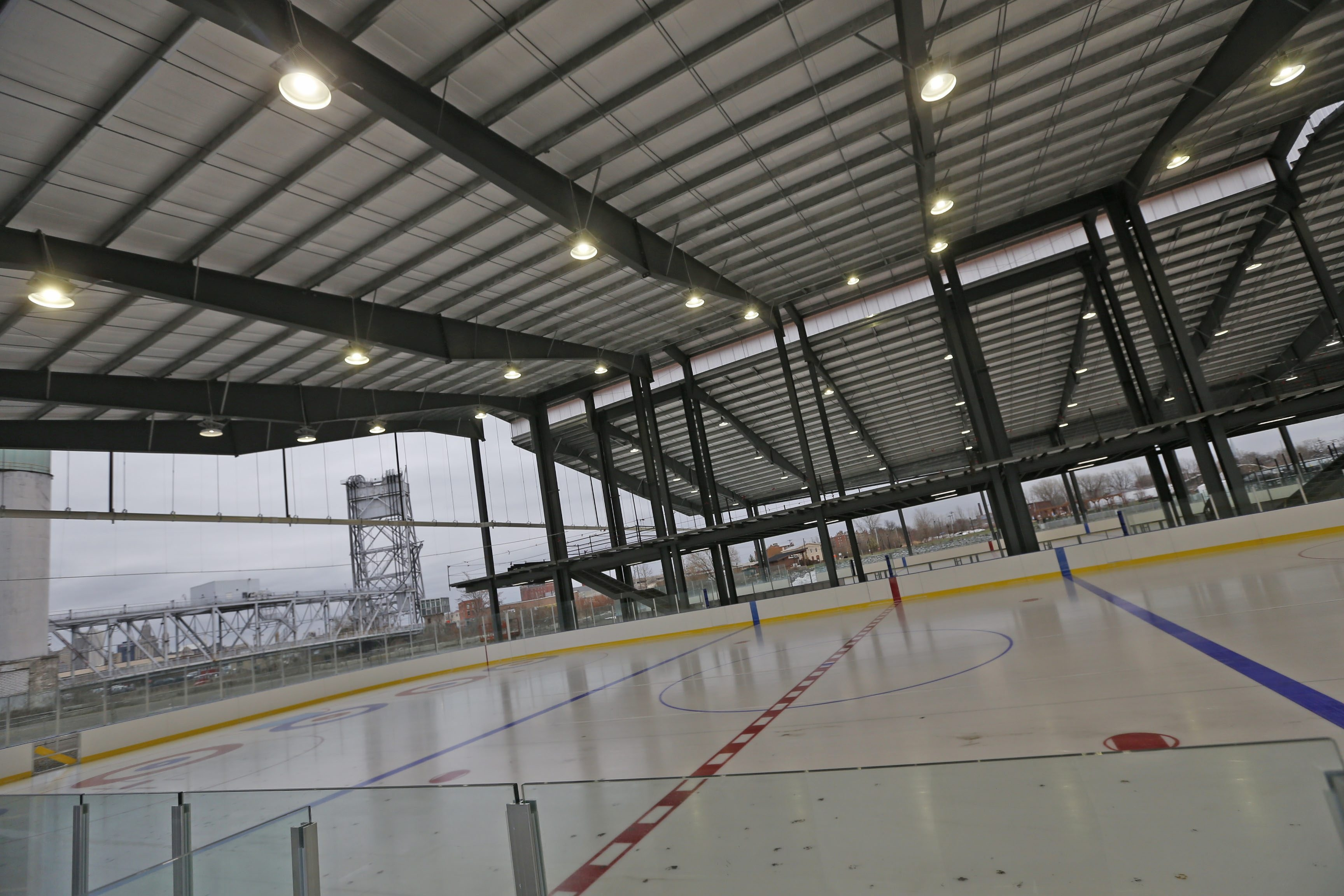 The new open-air ice rinks at the Buffalo RiverWorks complex on Ganson Street are ready to host hockey and curling.