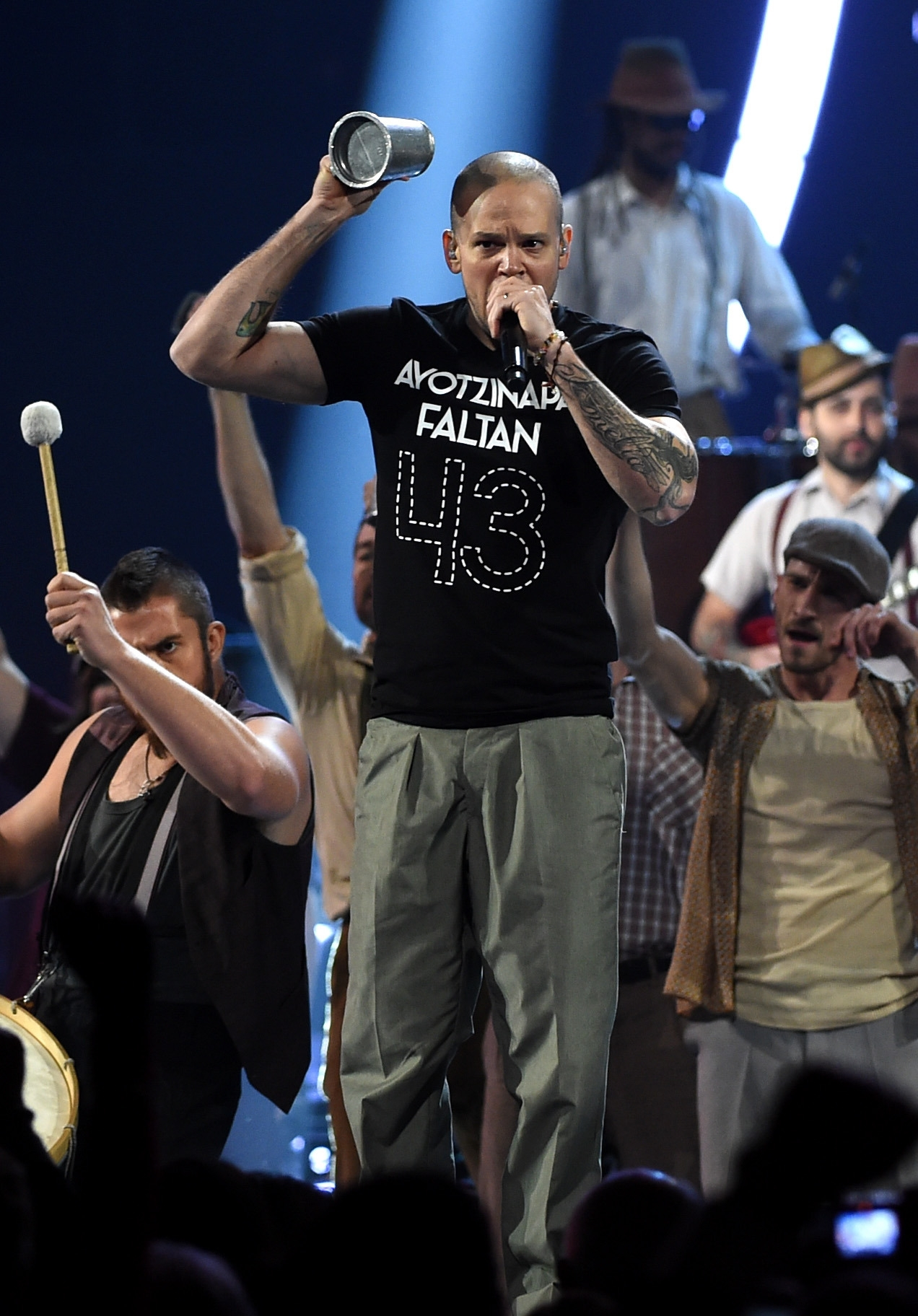Singer Rene Perez Joglar of Calle 13 performs onstage during the 15th annual Latin Grammy Awards at the MGM Grand Garden Arena in Las Vegas on Thursday.
