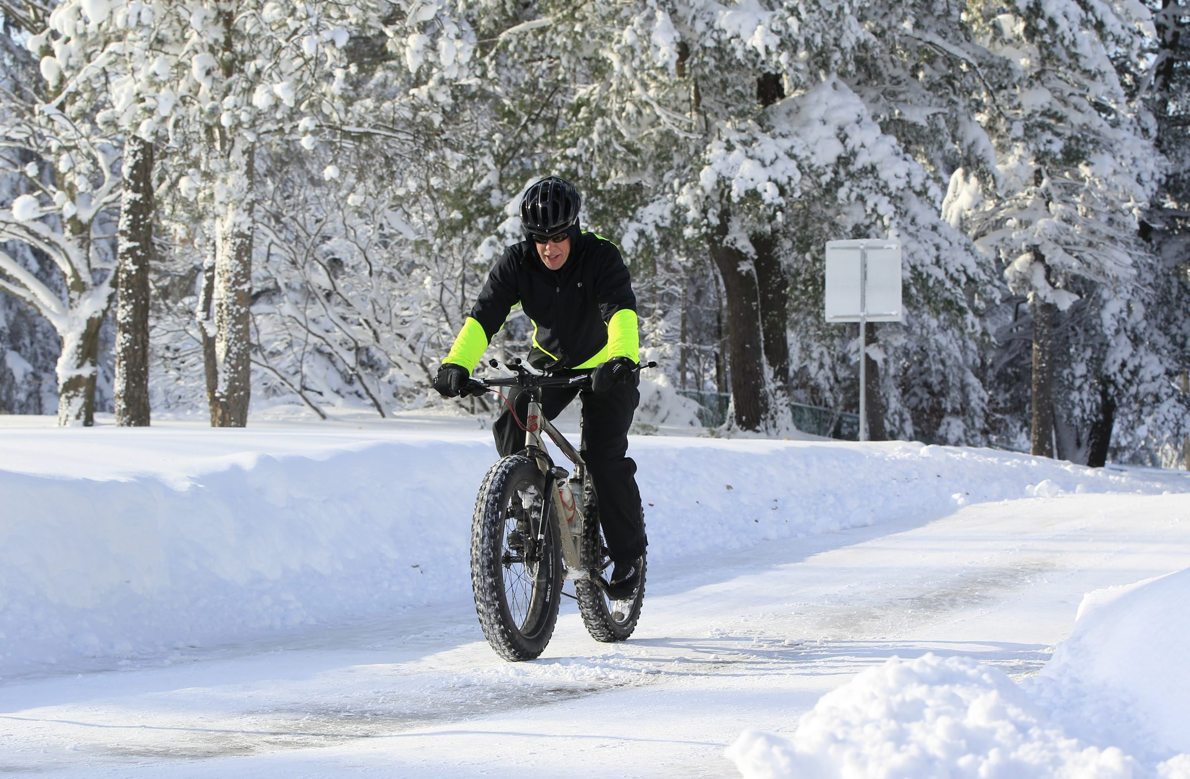 Bill Graves rides his bike Wednesday morning at Chestnut Ridge Park. (Harry Scull Jr./Buffalo News)