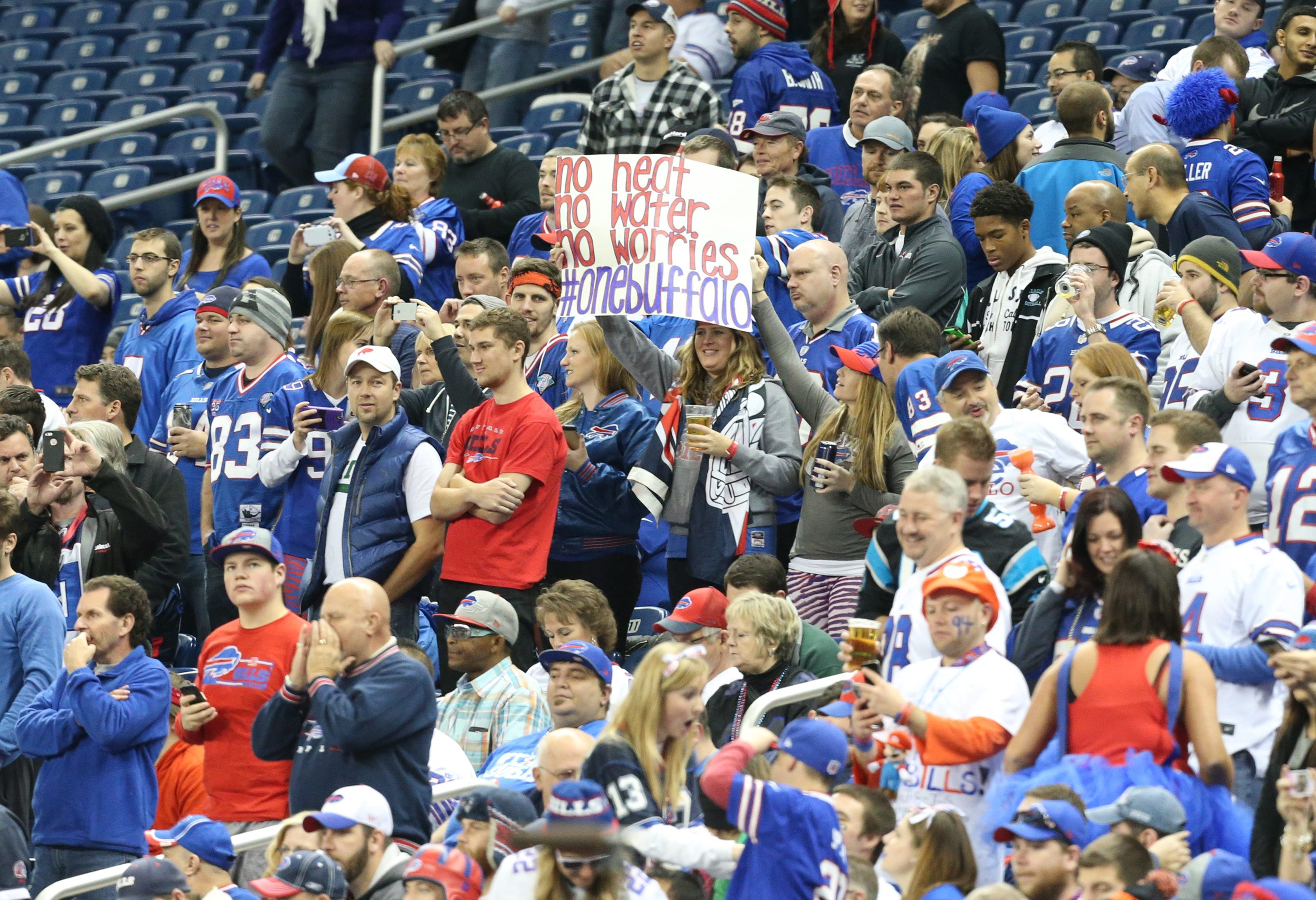 Bills fans cheer on their team from Ford Field in Detroit. (James P. McCoy/Buffalo News)