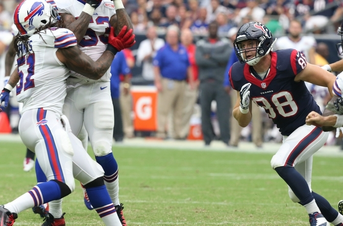 """Bills linebacker Nigel Bradham, making an interception against Houston earlier this season, is """"playing at an extremely high level,"""" according to head coach Doug Marrone, who was quick to chastise the linebacker for drawing a penalty for taunting in Sunday's win over the Jets. (James P. McCoy/Buffalo News file photo)"""