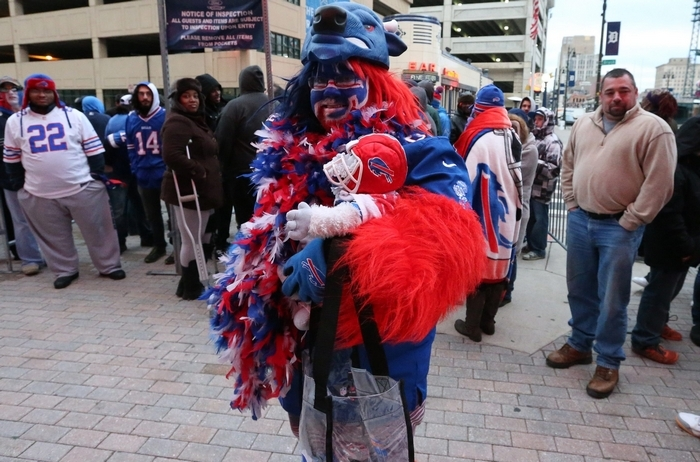 Jeremiah Ranzie traveled from Brooklyn to show support for the Bills at Ford Field on Monday. (James P. McCoy/Buffalo News)