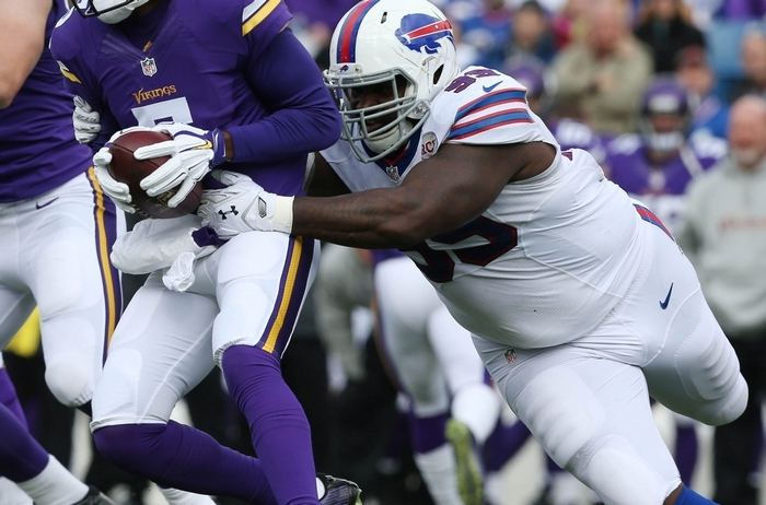 "Bills defensive tackle Marcell Dareus, here sacking Minnesota quarterback Teddy Bridgewater in a game earlier this year, doesn't expect the Bills defense to take the Raiders lightly in Sunday's game. ""We're going to play our game the best way we can. … I know we'll do the best we can. They're going to come out playing hard, and we want to play hard as well."" (James P. McCoy/Buffalo News)"