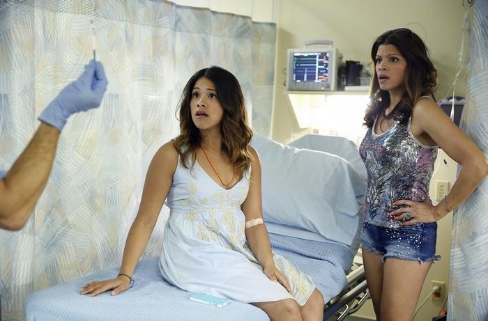 "Gina Rodriguez as Jane, Andrea Navedo as Xiomara in ""Jane the Virgin."""