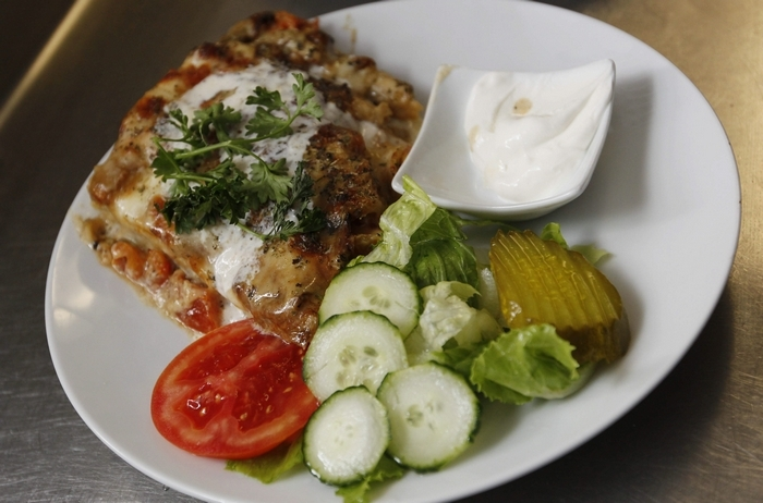 The veggie musaka is served at Balkan Dining on Kenmore Avenue. (Sharon Cantillon/Buffalo News)