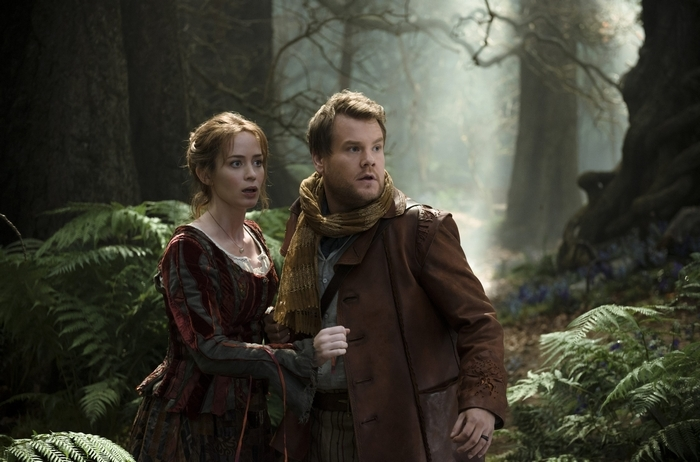 "Emily Blunt and James Corden star as a baker and his wife who wish to start a family in ""Into the Woods,"" a modern twist on beloved fairy tales."
