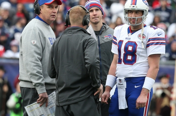 Bills coach Doug Marrone, talking with Kyle Orton during a timeout Sunday, would likely win any power struggle with General Manager Doug Whaley if Bill Polian were to take a senior job with the Bills. (James P. McCoy/Buffalo News)