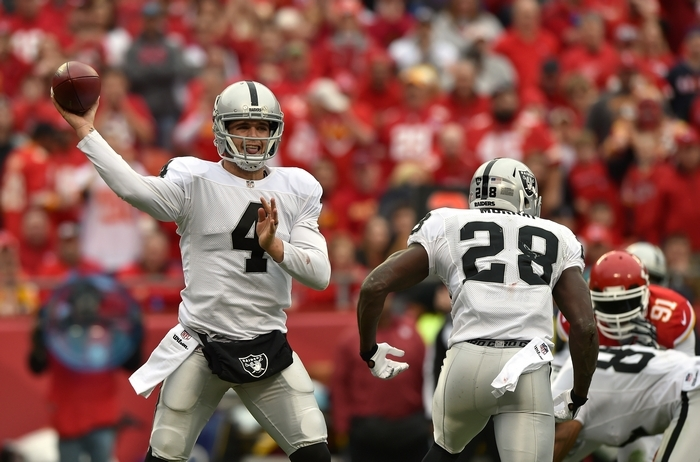 Raiders quarterback Derek Carr has a passer rating of 76.9. (Getty Images)