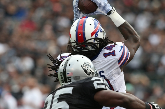 Sammy Watkins catches a touchdown in front of Oakland's DJ Hayden. (James P. McCoy/Buffalo News)