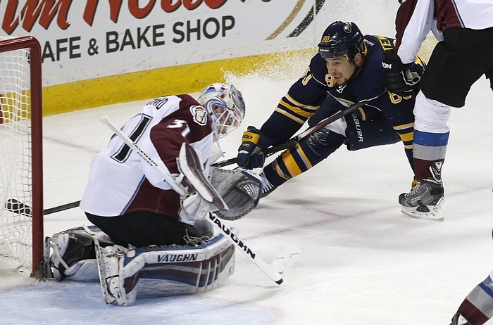 Buffalo's Chris Stewart gets foiled by Avalanche goalie Calvin Pickard. Stewart later set up Johan Larsson for the Sabres' lone goal. (Robert Kirkham/Buffalo News)