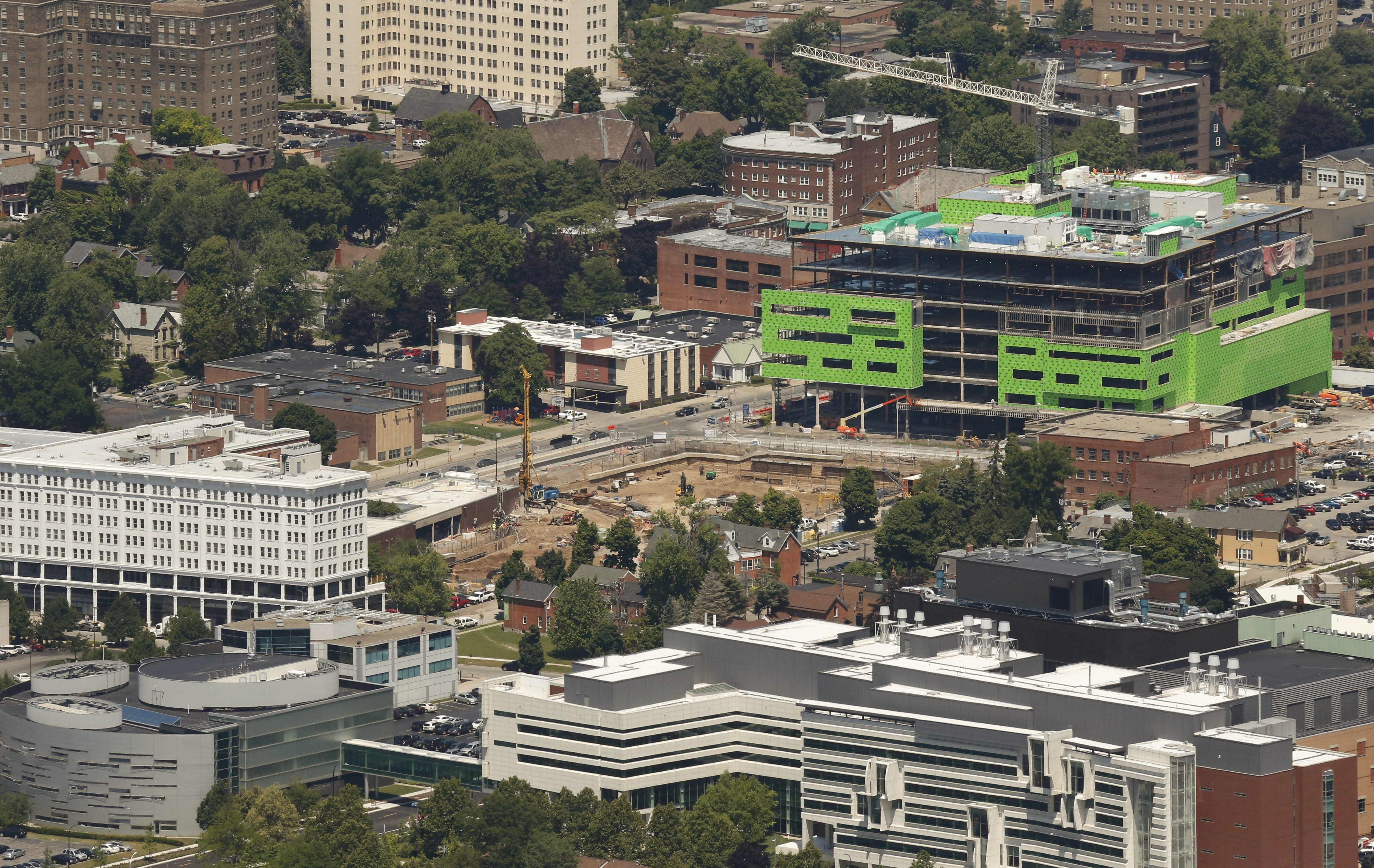 A Medical Campus anchor: Construction will continue on the University at Buffalo School of Medicine and Biomedical Sciences.