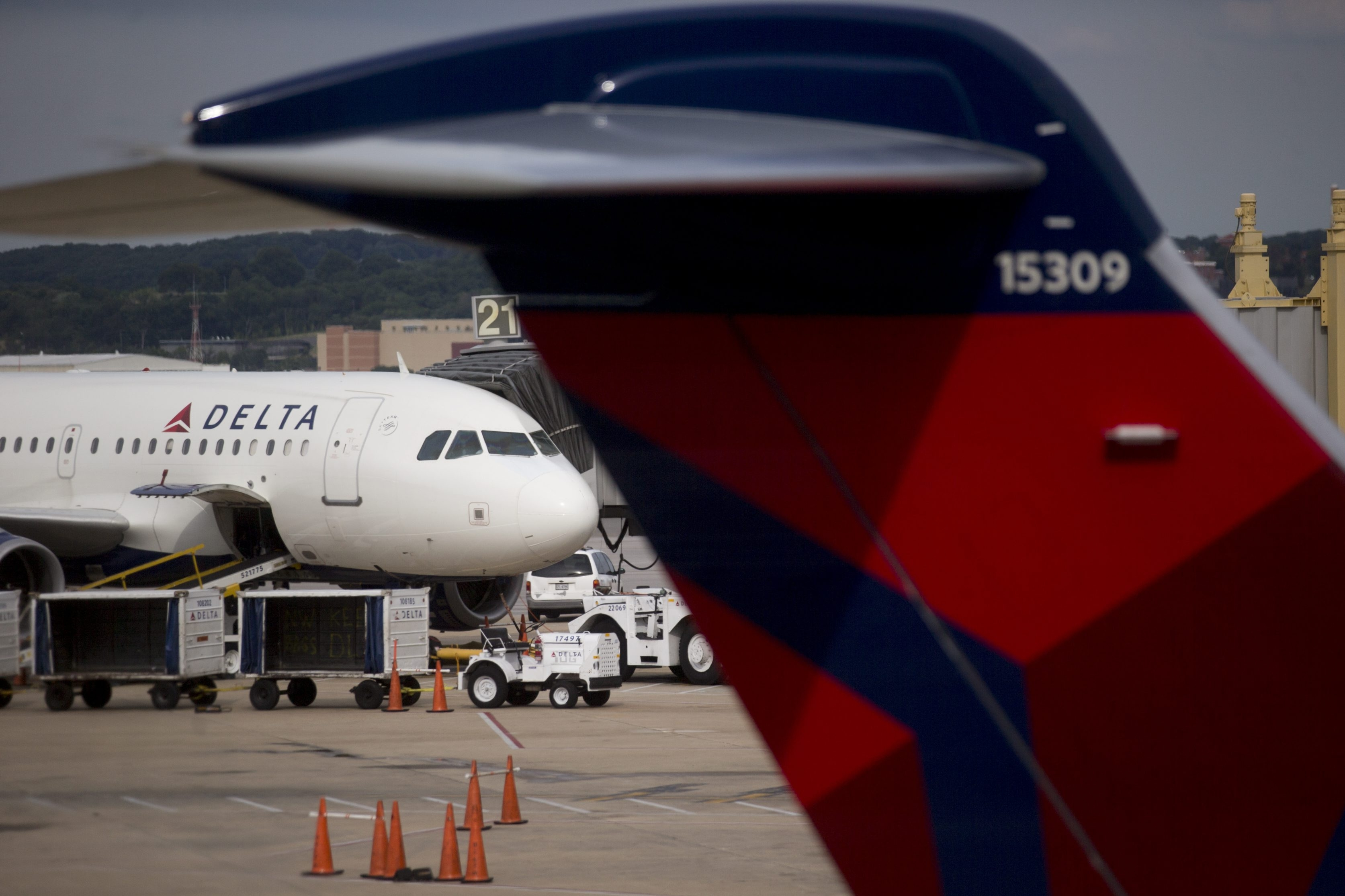 A Delta Air Lines plane sits parked at a gate of Ronald Reagan National Airport in Washington, D.C. Delta agreed to retain its own international flights and not to outsource trips to partner Virgin Atlantic.