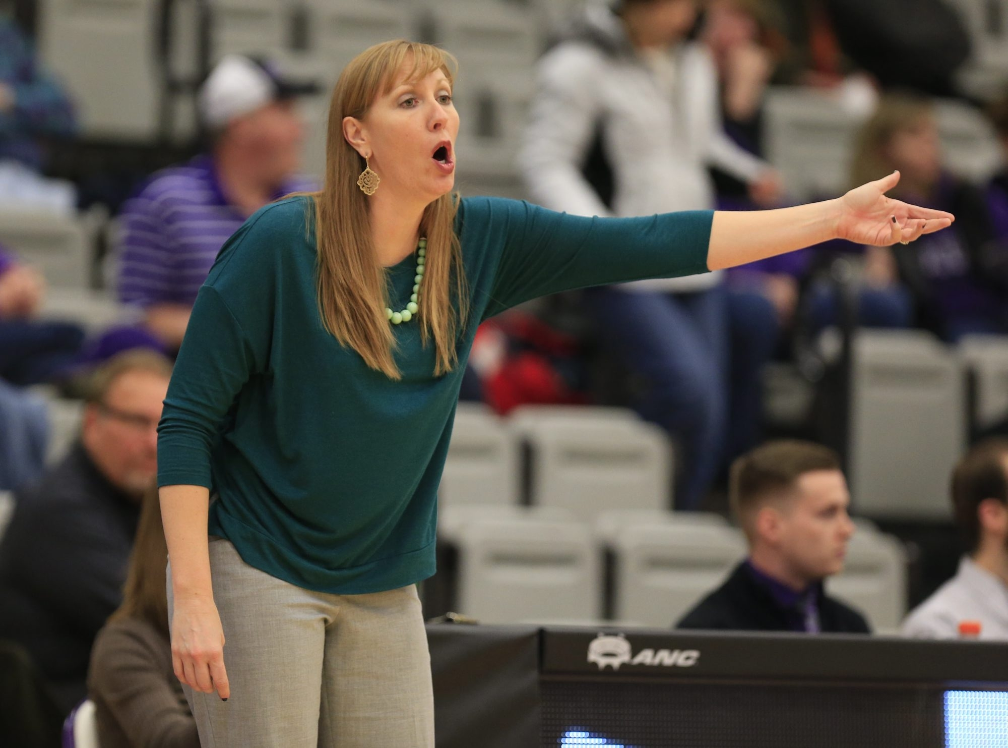 Niagara women's coach Kendra Faustin argues a call against Mount St. Mary's during second-half action.