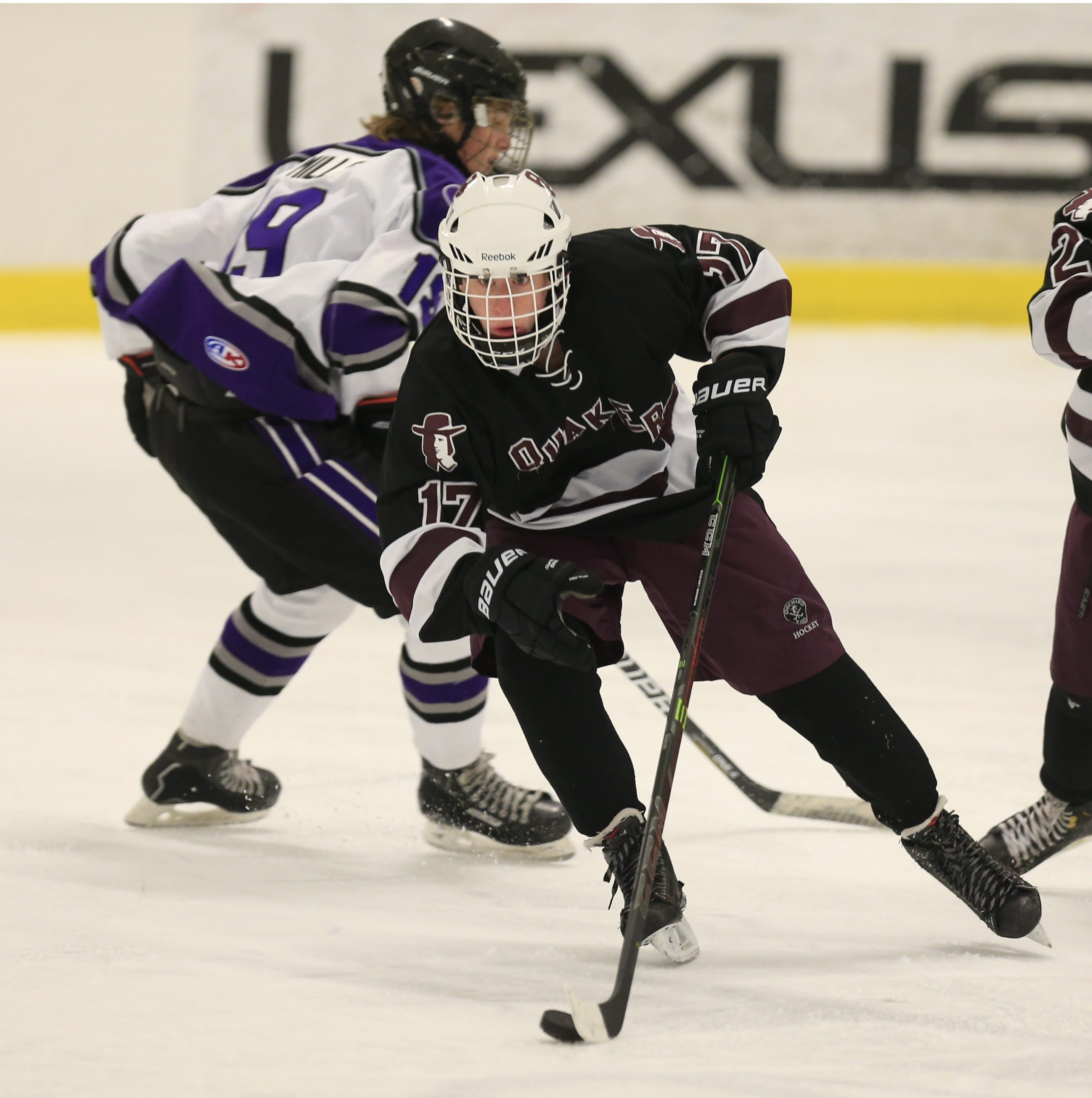 Orchard Park's Mike Strachan (17) moves the puck up ice during first period action against Hamburg at the Northtown Center in Amherst on Monday, Dec. 29, 2014.  (Harry Scull Jr./Buffalo News)