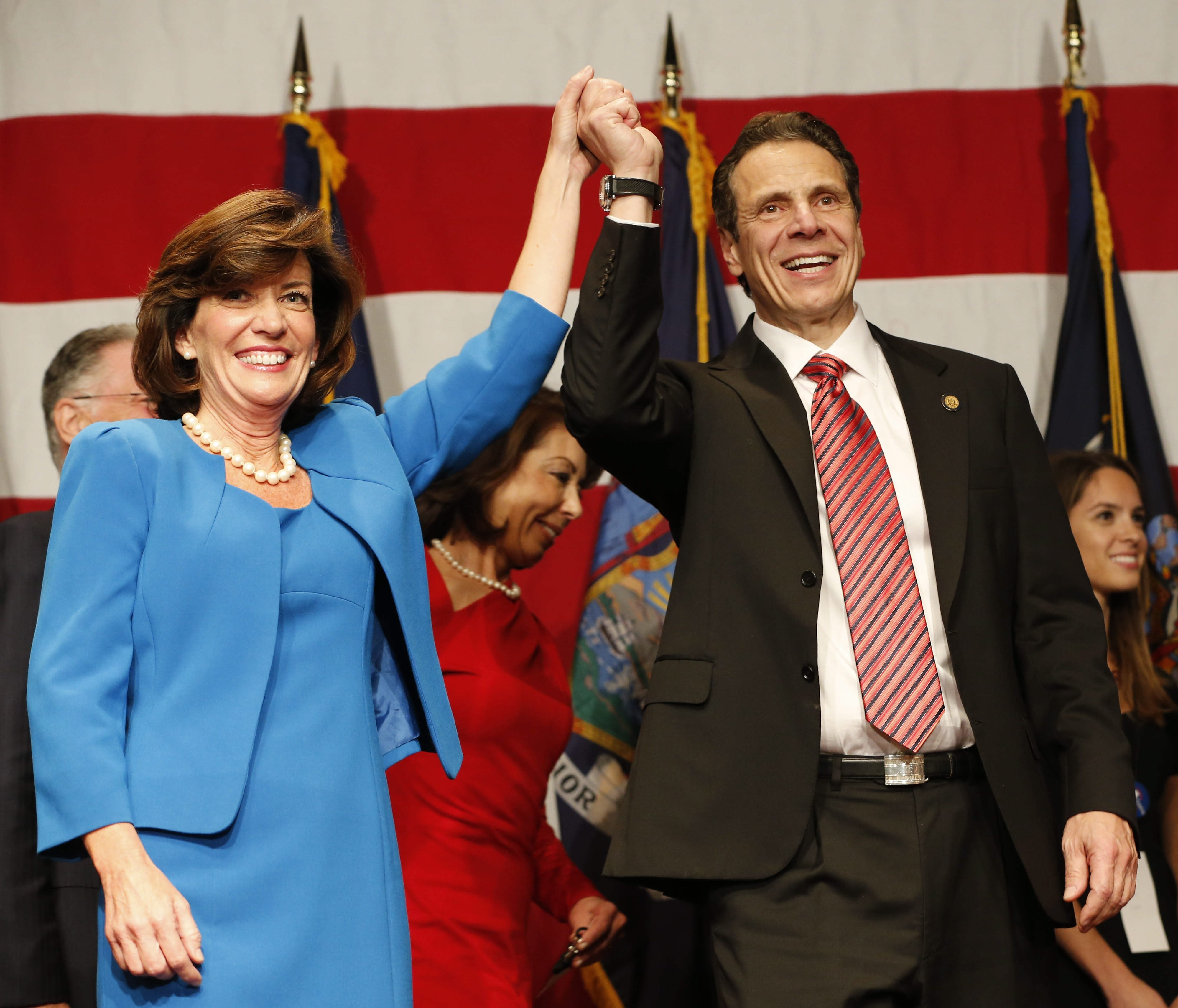 Lt. Gov-elect Kathy Hochul and Gov. Andrew Cuomo celebrate their victory in New York City on Nov. 4. Hochul's success as lieutenant governor depends largely on the role Cuomo assigns her.