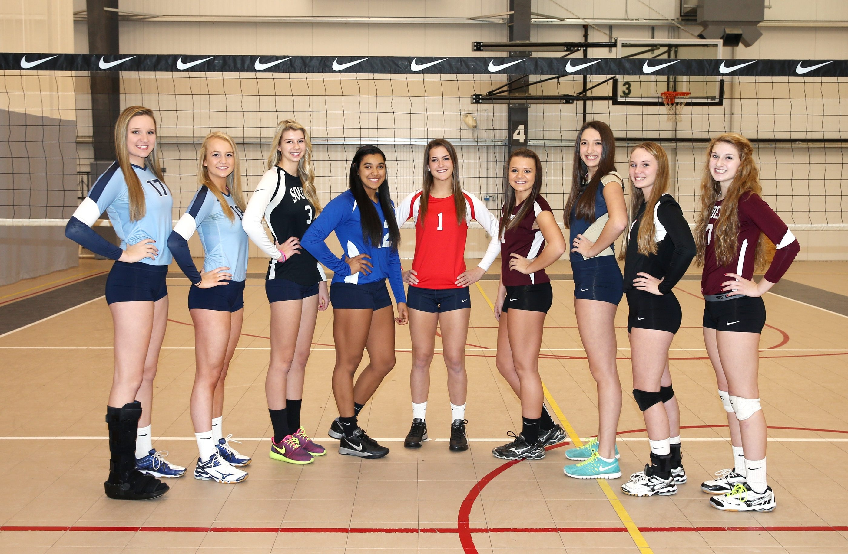 The 2014 All-WNY first team, from left, Leah Meyer (St. Mary's), Ashley Drzymala (St. Mary's), Madison Clark (Williamsville South), McKyla Brooks (Frontier), Mckenna Maycock (Randolph), Shaina Griffin (Portville), Rachel Reusch (Sweet Home), Meghan Neelon (Clarence) and Sam Burgio (Eden). Five of the nine were on state championship teams.
