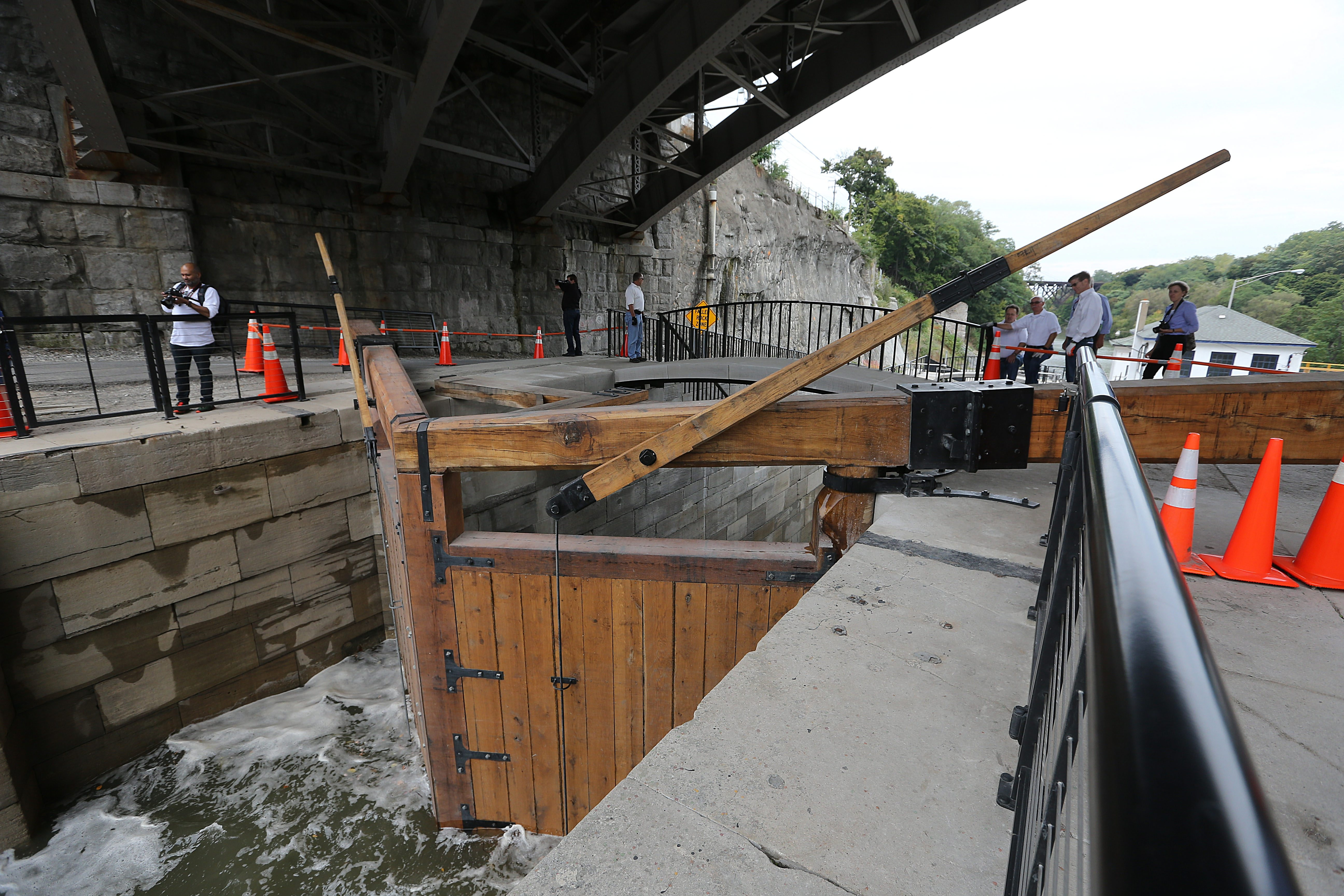 The wooden doors on one of the restored locks, during a Flight of Five Dedication Ceremony at the Lockport Locks in October. The ceremony celebrated the restoration of Locks 69 & 70. (Buffalo News file photo)