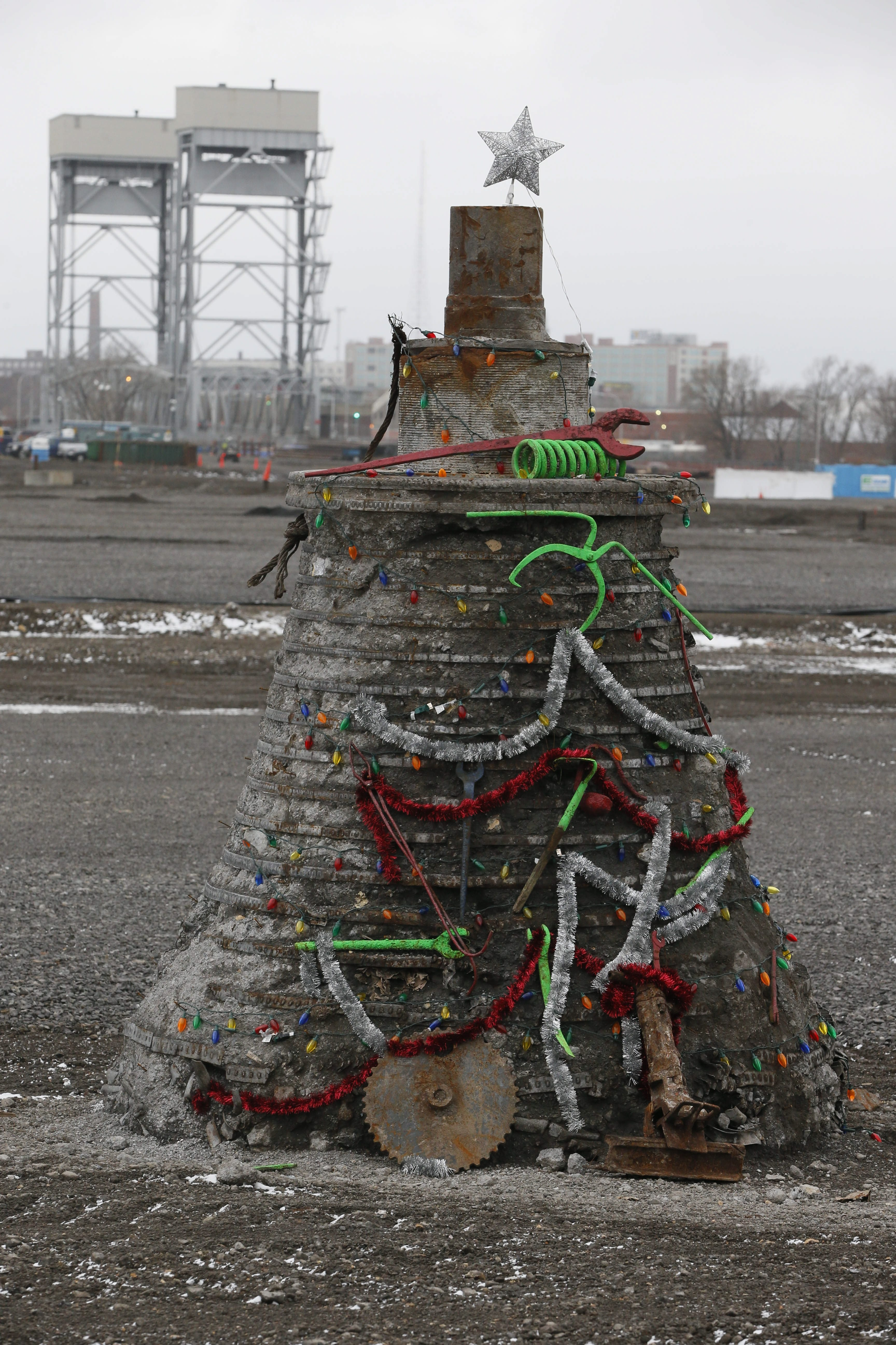 Christmas spirit and the ingenuity of workers at the RiverBend site turned an industrial relic into a makeshift Christmas tree. (Derek Gee/Buffalo News)