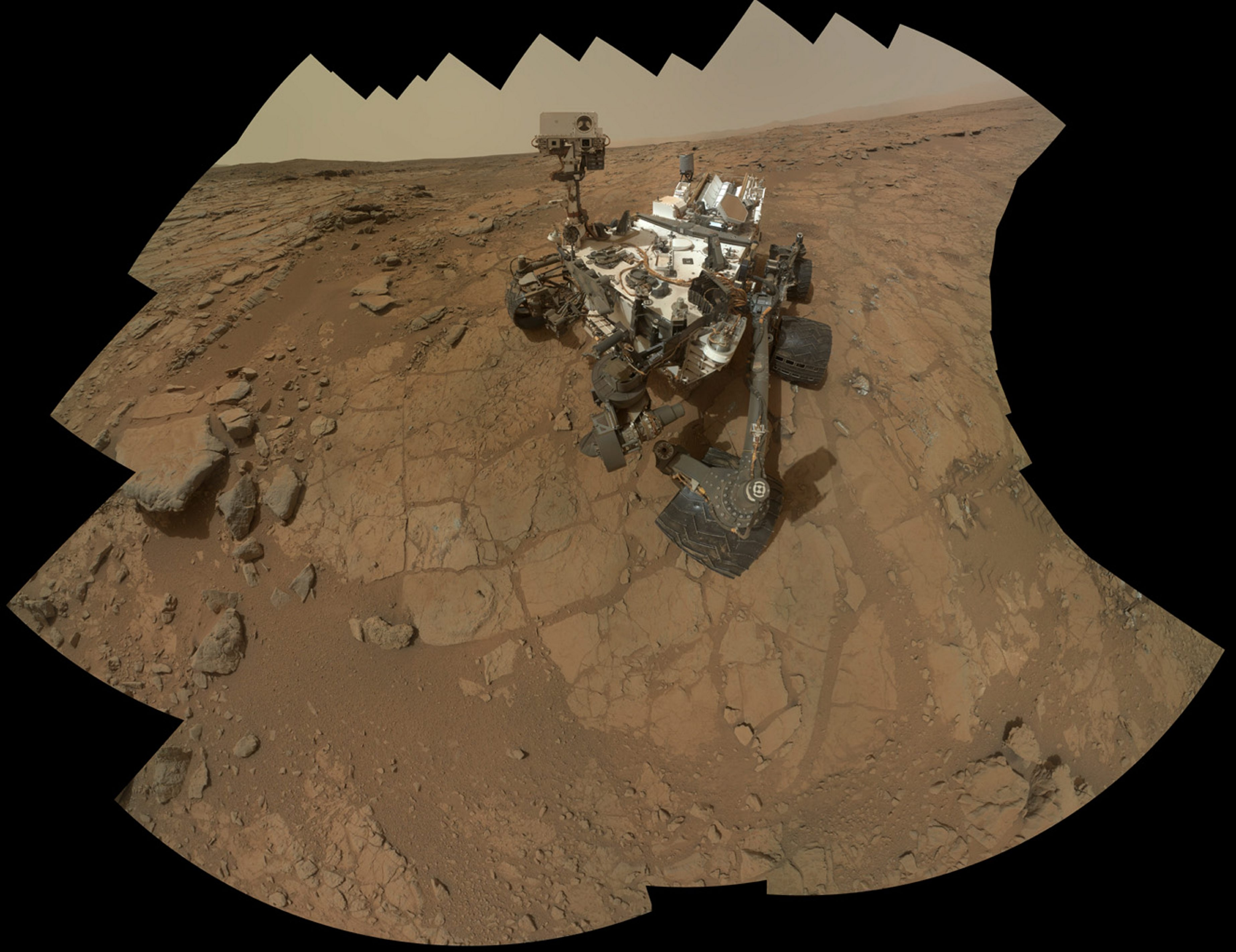 In an undated handout image, the NASA´s Curiosity at a site selected for the first rock-drilling activities by the rover. More than 3.5 billion years ago, a meteor slammed into Mars, leaving behind a depression known as Gale Crater and a mountain rising more than three miles from its floor. (NASA via The New York Times) -- FOR EDITORIAL USE ONLY.
