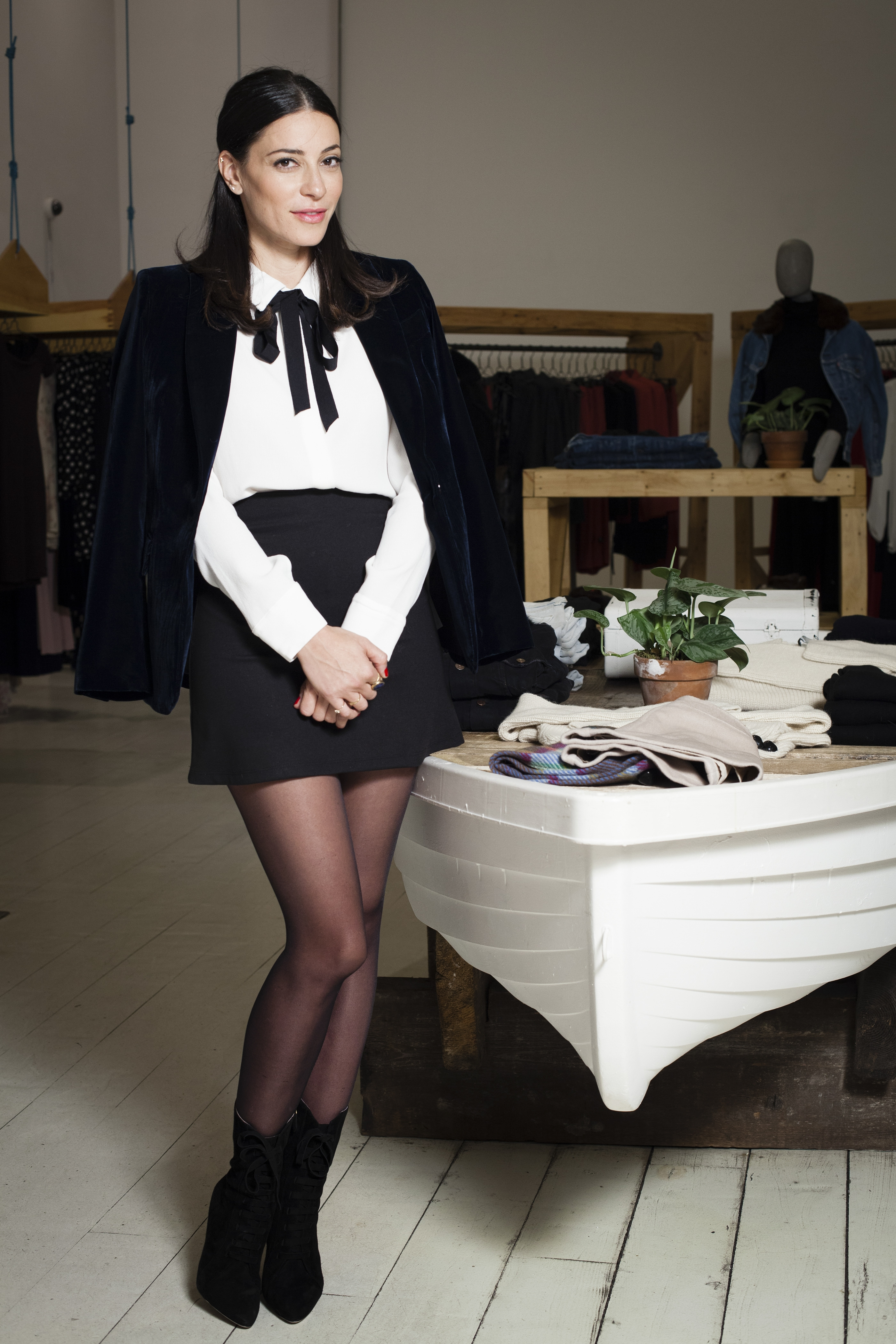 Yael Aflalo, founder of the eco-friendly Reformation clothing label, at her Lower East Side store in New York, Dec. 8, 2014. Reformation spent the first five years of its existence as a modest business, but in the last 12 months it has blown up, emerging as the affordable-ish uniform of 2014 for a certain urban sophisticate who is tall, thin and in her 20s. (Deidre Schoo/The New York Times)