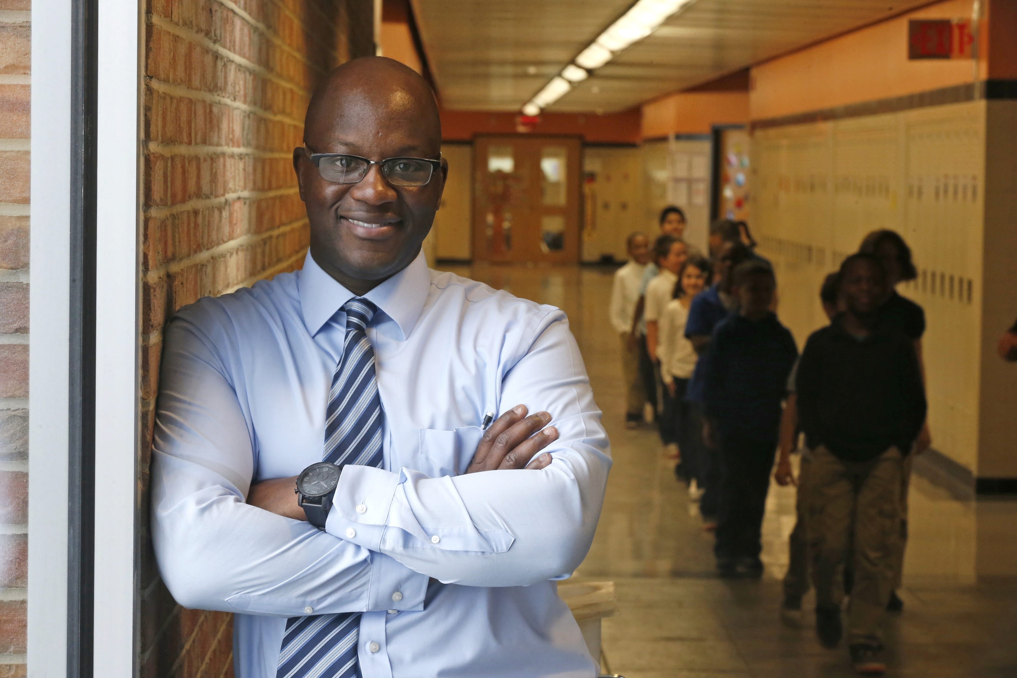 Principal Gregory D. Mott stresses teamwork by teachers and strong support for students at Grabiarz School of Excellence.
