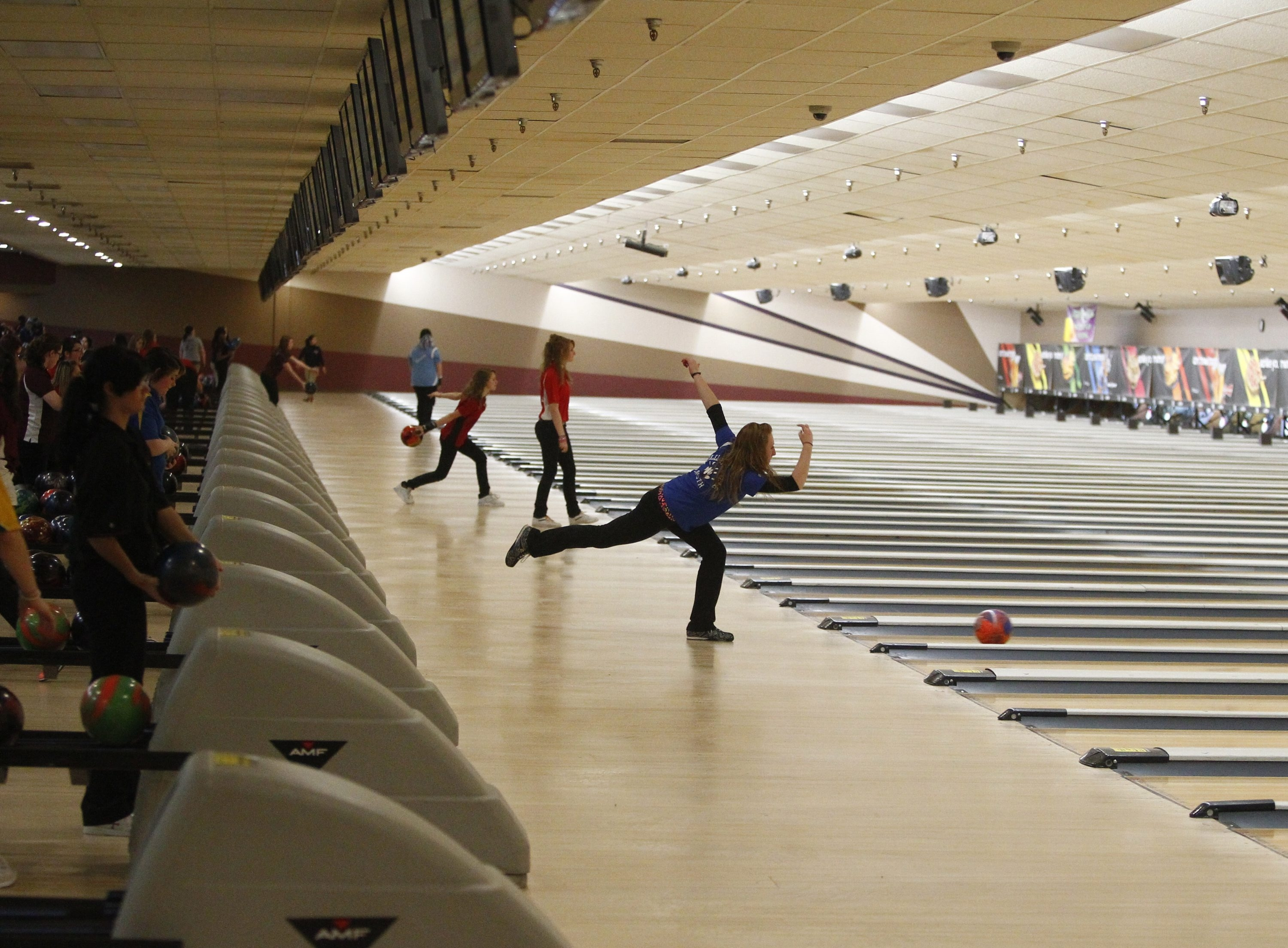 Teams compete in the Section VI Girls Bowling Championships at Thruway Lanes in 2012. John Hickey / News file photo
