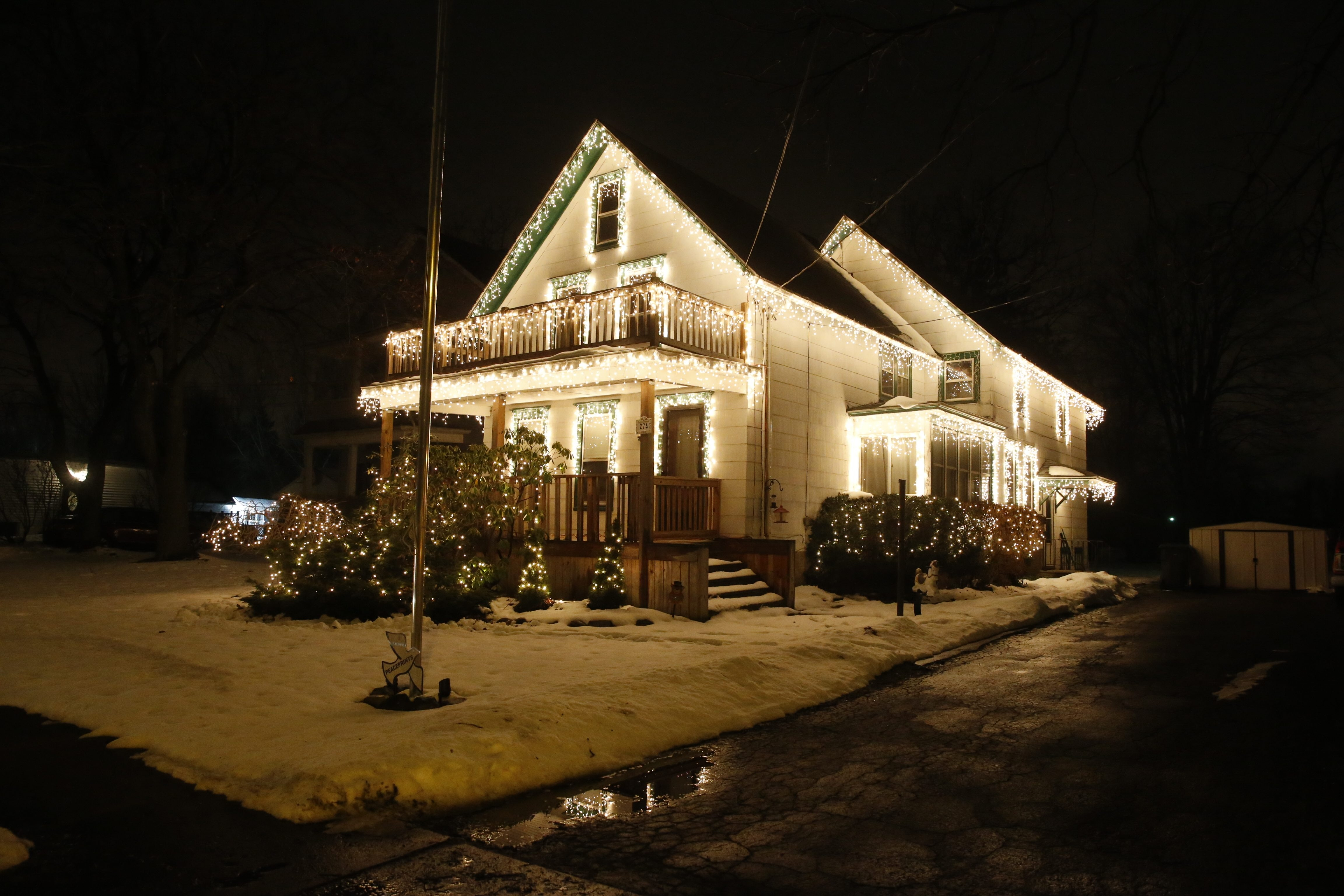 The light show at the Labenski home at 274 Old Falls Blvd., North Tonawanda, continues through about Jan. 6.