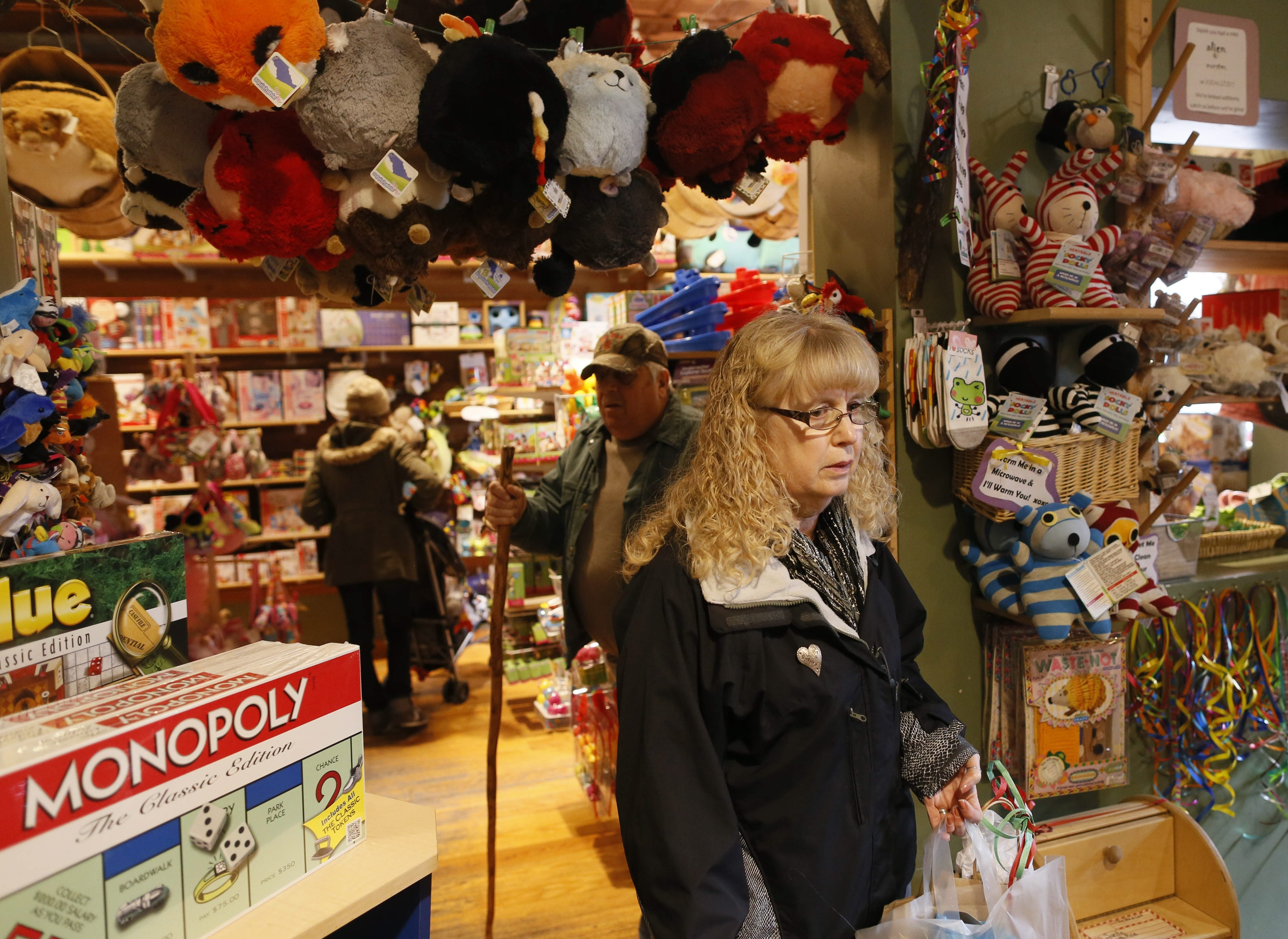 Darlene and Gary Subulski of Carrollton shop at the Treehouse toy store on Elmwood Avenue over the weekend.