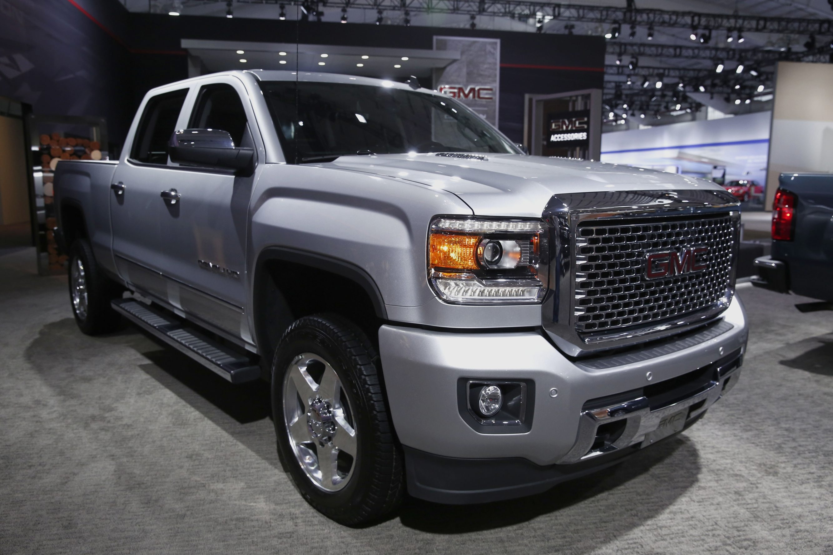 Bigger, less-efficient vehicles, such as this 2015 GMC Sierra pickup truck, displayed during the 2014 New York International Auto Show in New York in April, may get a bump in sales thanks to lower gasoline prices.