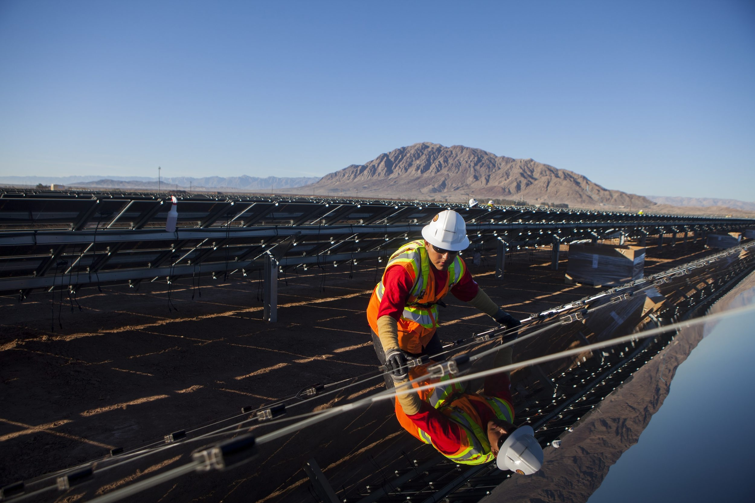 A contractor for First Solar works on construction of the Tenaska Imperial Solar Energy Center South project in California. First Solar is among the many companies with operations in Malaysia, which has become the third-largest global supplier of solar equipment.