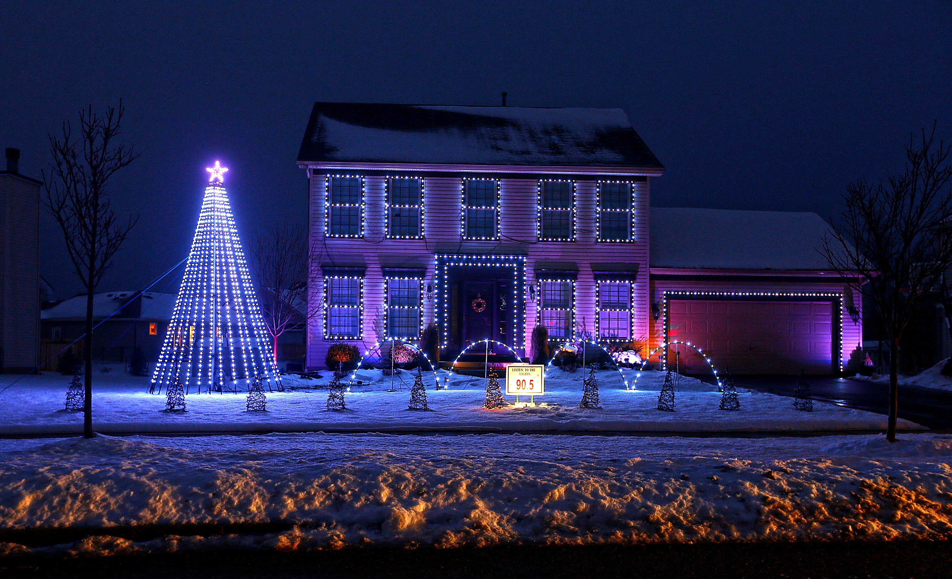 The Powers' home at 6 Red Clover Lane in Lancaster combines lights and sound, bringing holiday cheer to strangers.