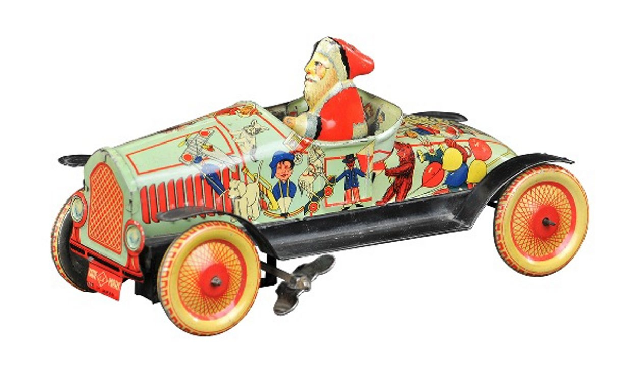 This Santa is a bit thinner than usual so he can fit in his vintage tin car. It's a wind-up toy made in Japan before 1940. The toy sold for $37,760 – more than three times its presale estimate – at a 2013 Bertoia auction in Vineland, N.J.