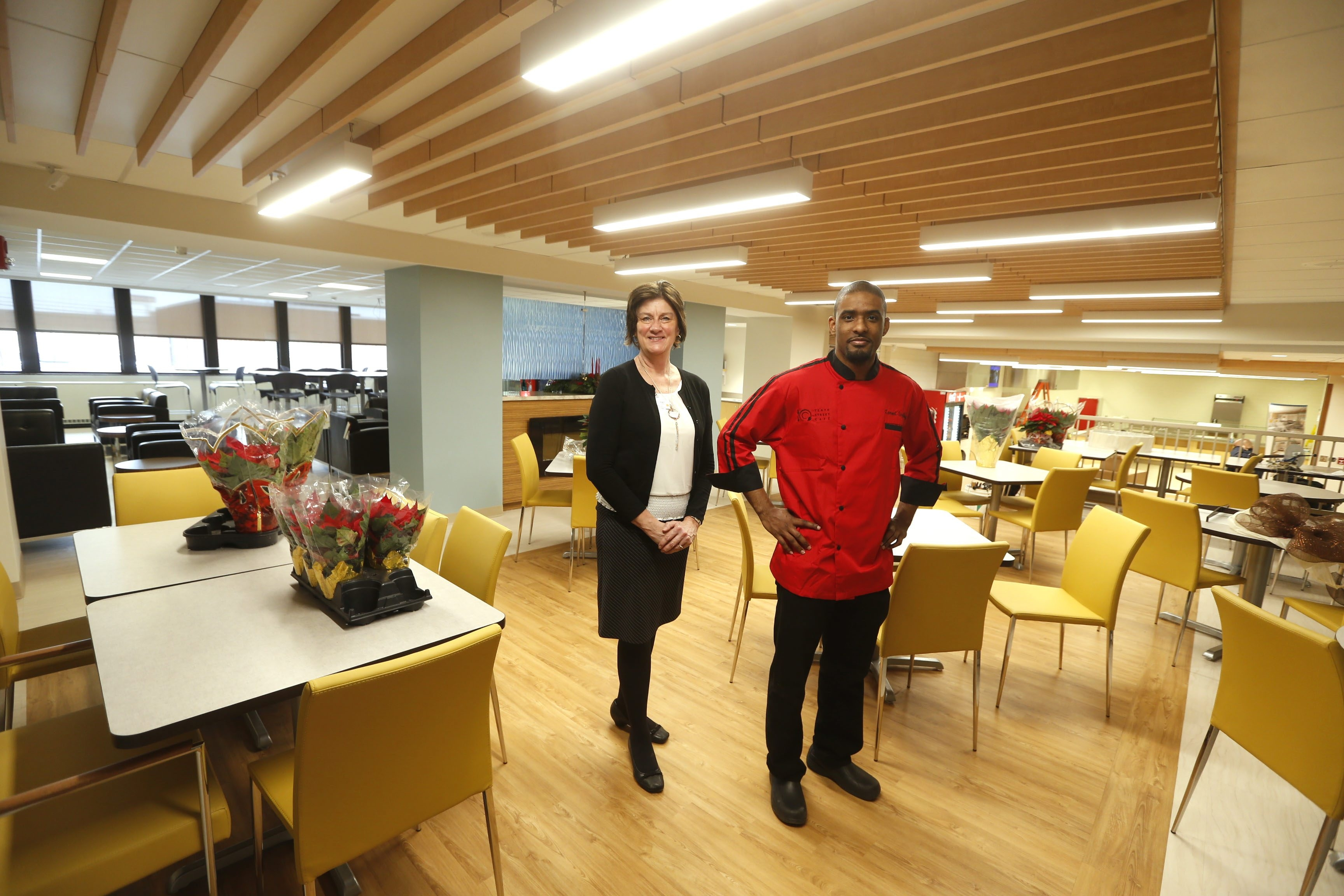 Patricia E. Denny, director of nutrition services for Niagara Falls Memorial Medical Center, and Lamont A. Singletary, manager and executive chef of the hospital's new Tenth Street Café, get ready for the public debut of café Jan. 5.