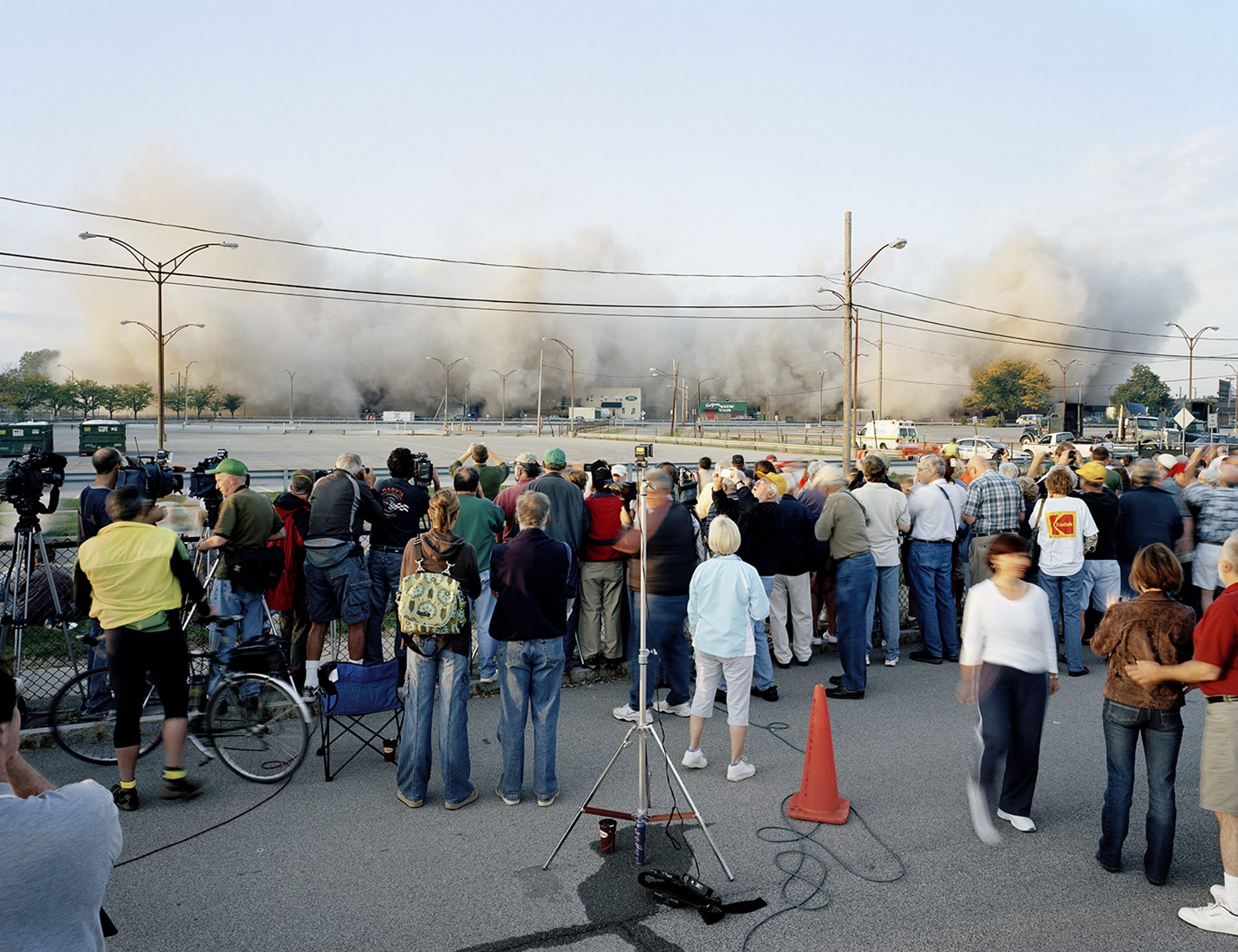 Crowds gather to watch the implosion of Kodak Park in Rochester.