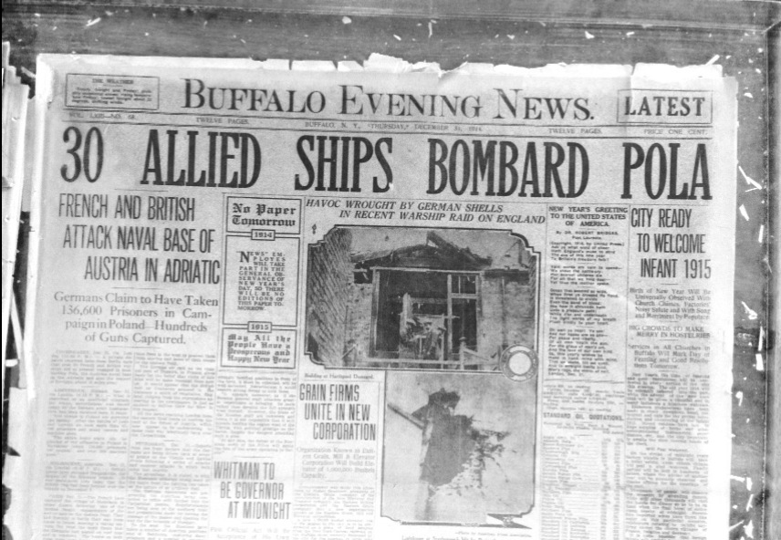 The front page of the Buffalo Evening News on Thursday, Dec. 31, 1914.