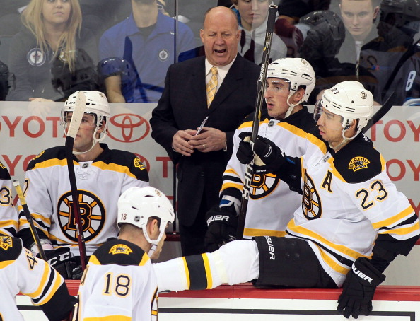 Bruins coach Claude Julien wasn't happy Friday in Winnipeg, and was no cheerier today (Getty Images).