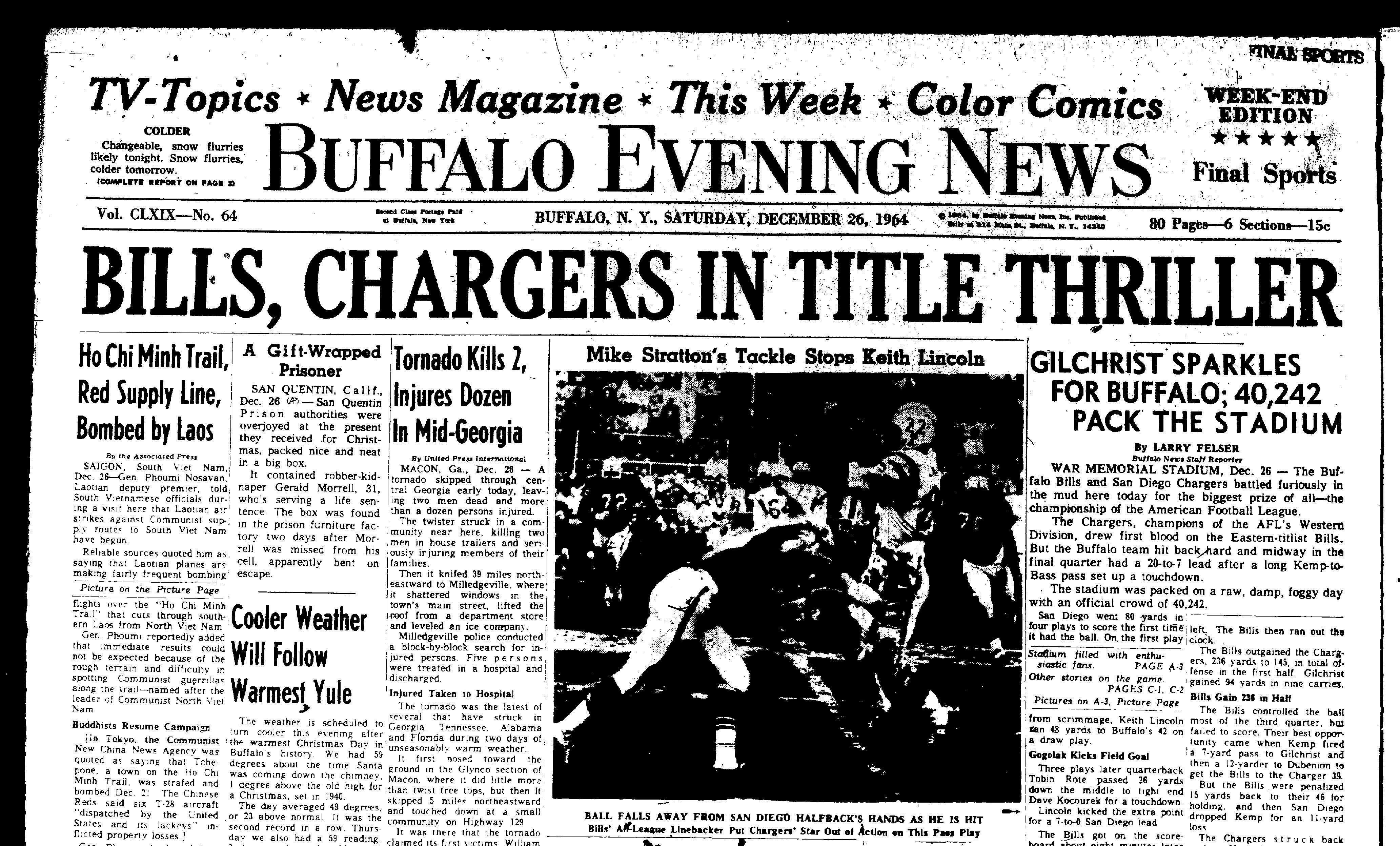 The front page of the last edition of The Buffalo Evening News on Dec. 26, 1964.