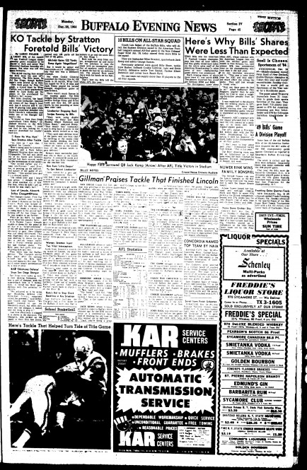 The sports section published Monday, Dec. 28, 1964.