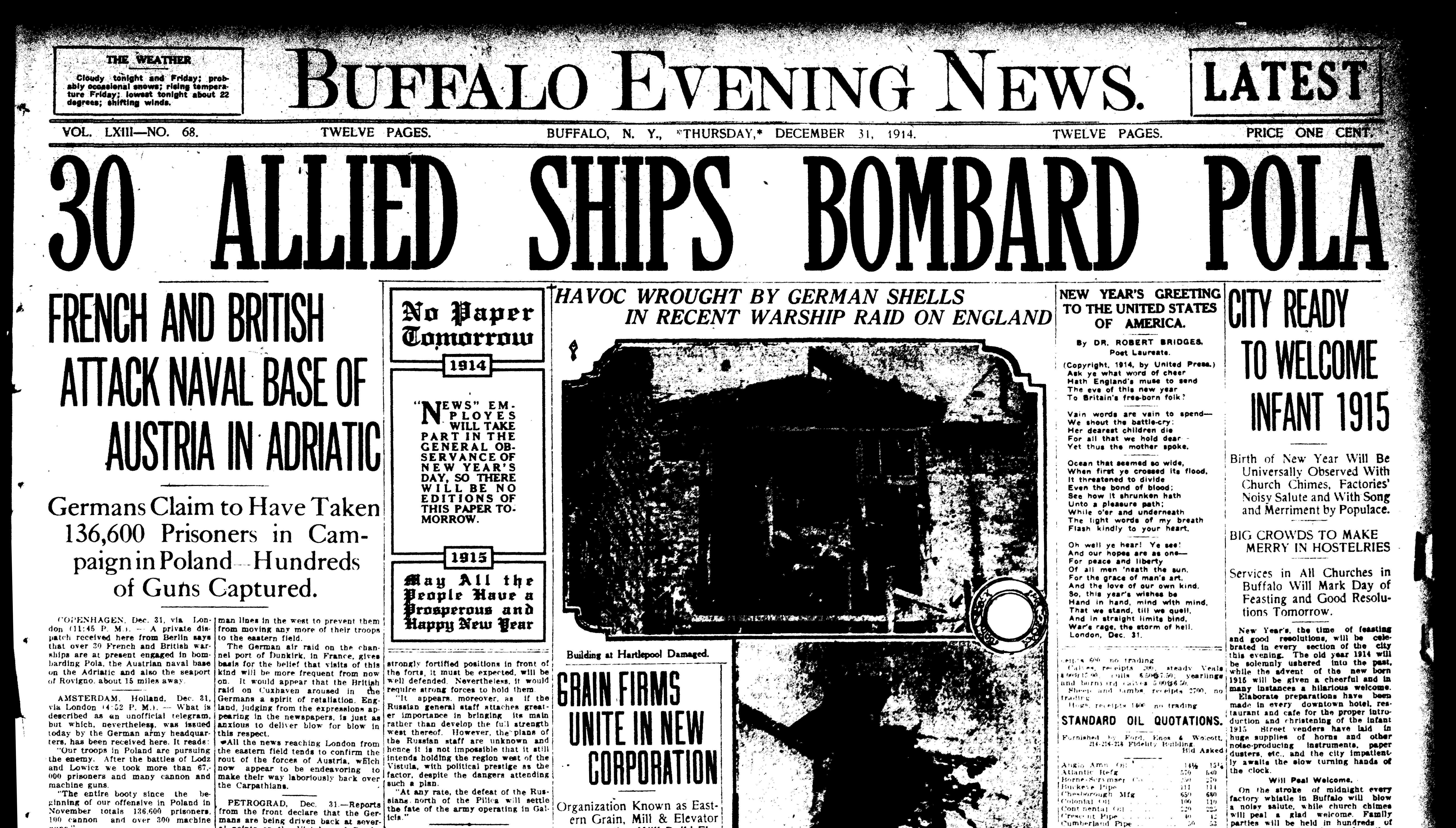 Dec. 31, 1914: A look back at the news 100 years ago