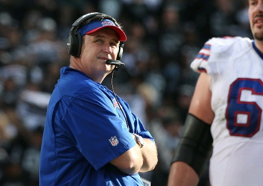 This is what Buffalo Bills coach Doug Marrone looks like, in case you missed him during the team's 2014 highlight video. (James P. McCoy/Buffalo News)