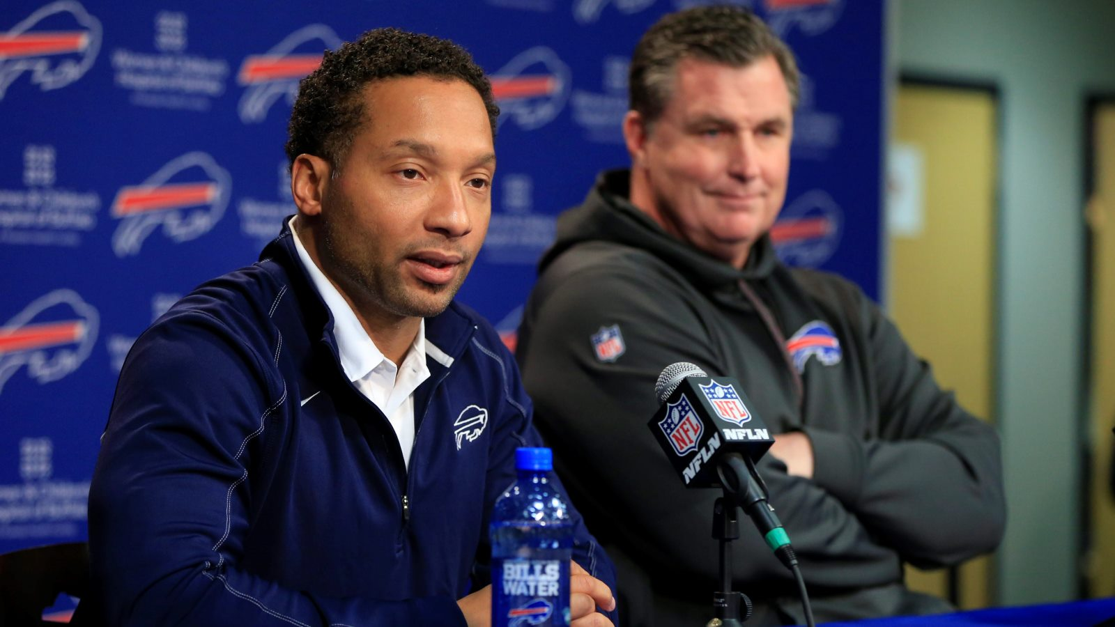 Doug Whaley, left, and Doug Marrone during their time with the Bills. (Harry Scull Jr./News file photo)