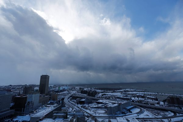 The storm hovers over areas south of Buffalo after coming off Lake Erie. (Derek Gee/Buffalo News)