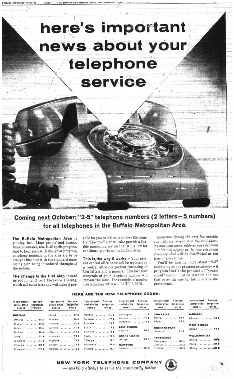 Jan  5, 1960: Buffalo phone numbers changing to two letters