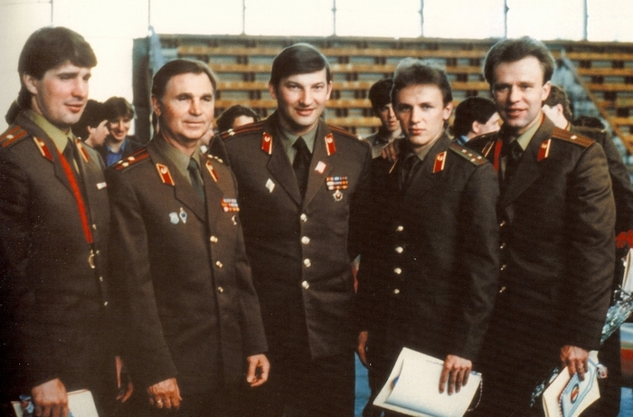 "Alex Kasatanov, left, Viktor Tikhonov, Vladislav Tretiak, Igor Larionov and Viacheslav ""Slavav"" Fetisov appear in the documentary ""Red Army."""