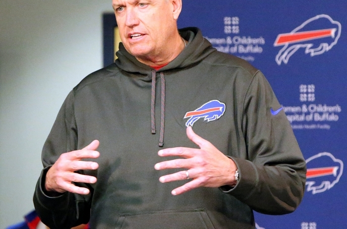 James P. McCoy/Buffalo NewsRex Ryan, shown in press conference in Buffalo, spent Thursday morning talking football and selling pizza during interviews at the Super Bowl site.
