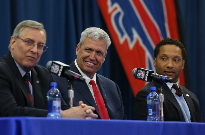 Rex Ryan was introduced as the new head coach of the Buffalo Bills at Ad Pro training center in Orchard Park in January.  (James P. McCoy/ Buffalo News)