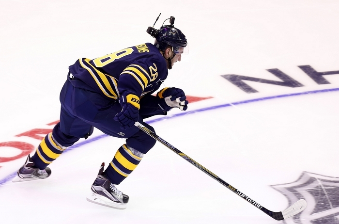 COLUMBUS, OH - JANUARY 24:  Zemgus Girgensons #28 of the Buffalo Sabres and Team Foligno competes during the Bridgestone NHL Fastest Skater event of the 2015 Honda NHL All-Star Skills Competition at Nationwide Arena on January 24, 2015 in Columbus, Ohio.  (Photo by Kirk Irwin/Getty Images)