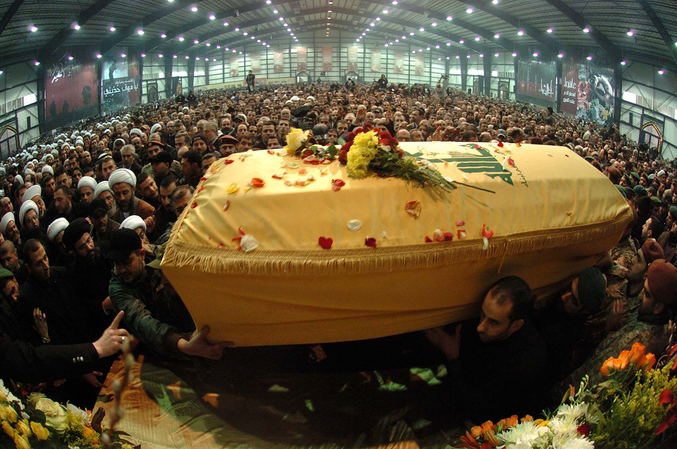 Lebanon's Hezbollah guerrillas carry the coffin of assassinated commander Imad Moughniyah during his funeral in Beirut, Lebanon, on Feb. 14, 2008. Moughniyah, hunted by Israel and the United States for two decades, was killed by a car bomb in Damascus.