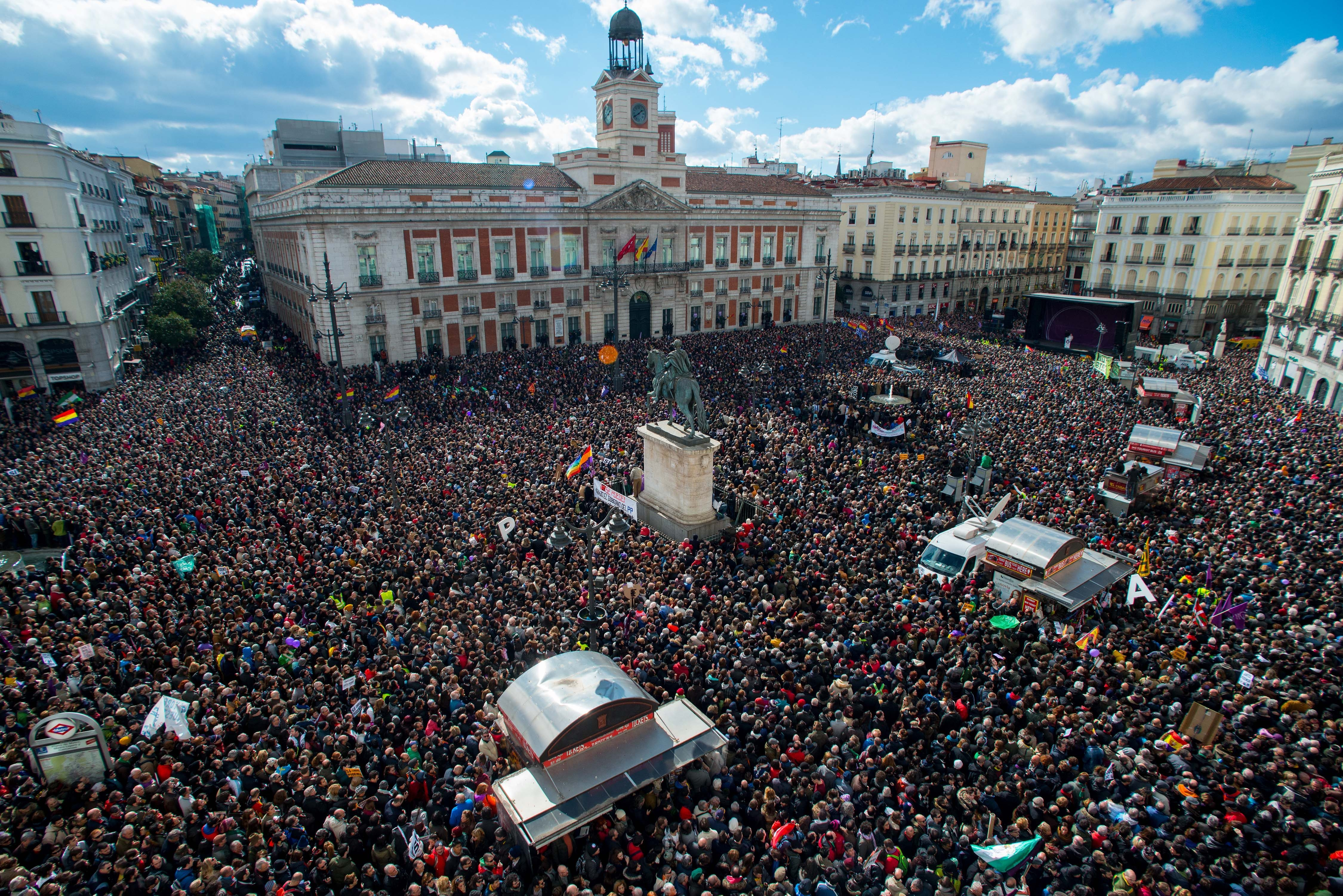 Podemos supporters gather at Puerta del Sol square on Saturday in Madrid, Spain.