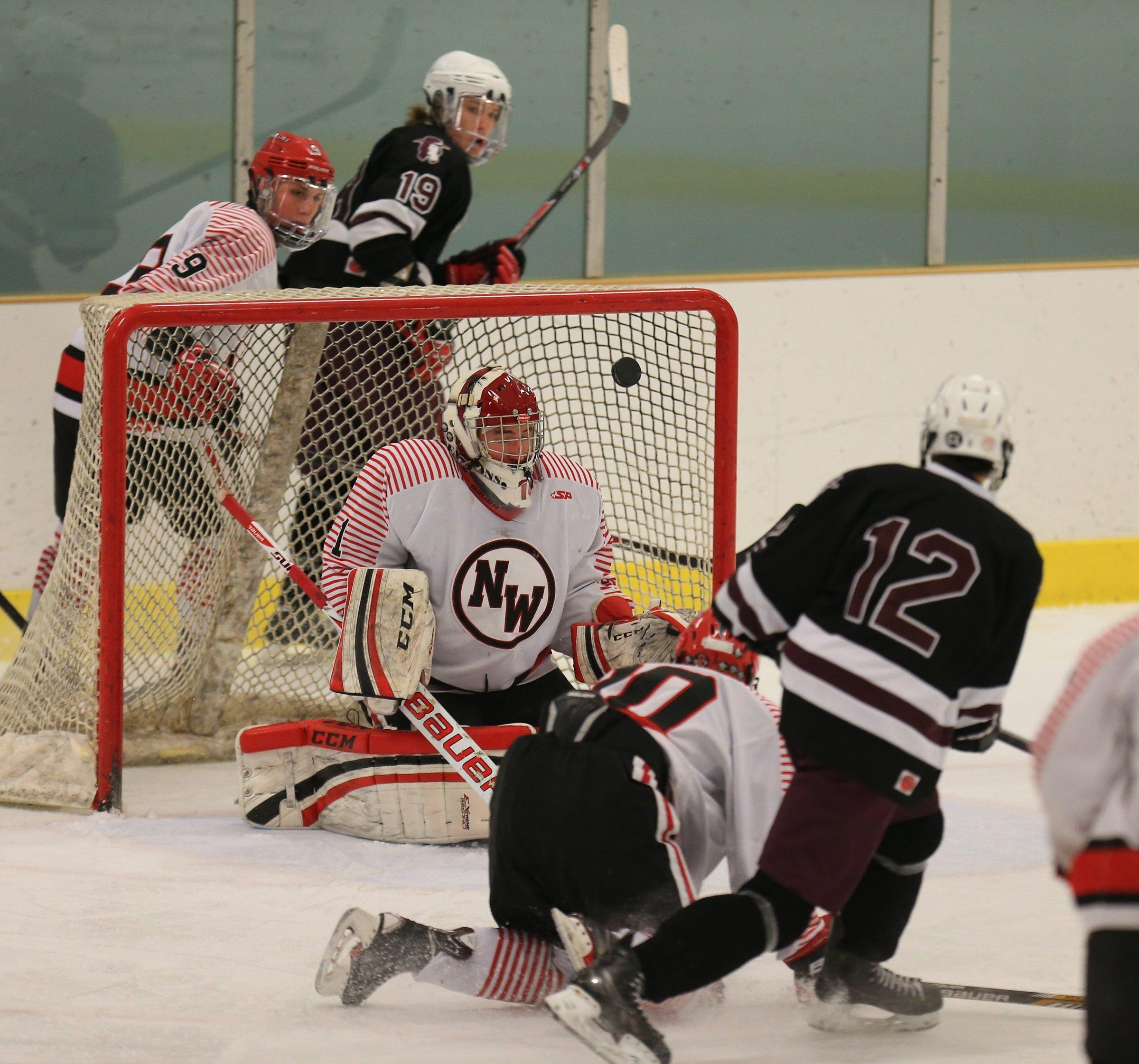 Orchard Park's Zach Biasillo (12) scores on  Niagara-Wheatfield goaltender Casey Wall during first-period action Saturday.